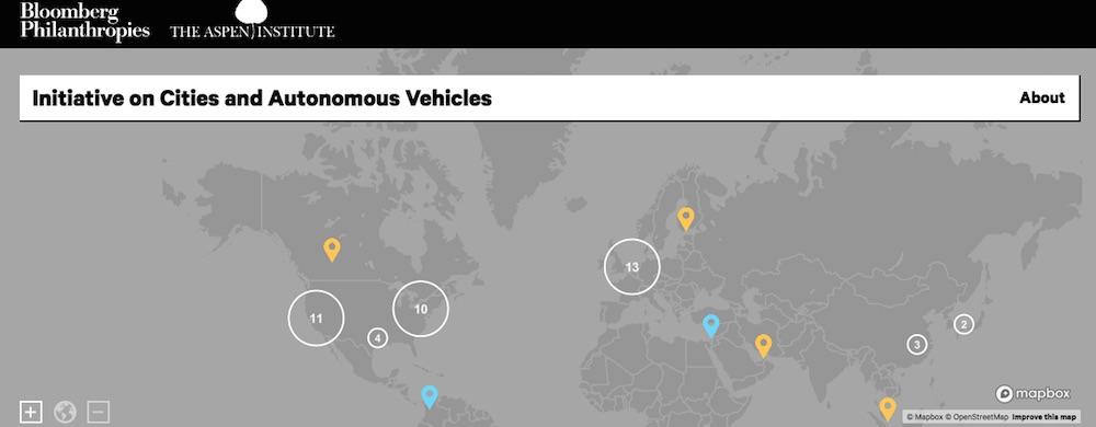 AVs in Cities map